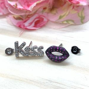 Sterling Silver 925 CZ KISS Stud Earrings